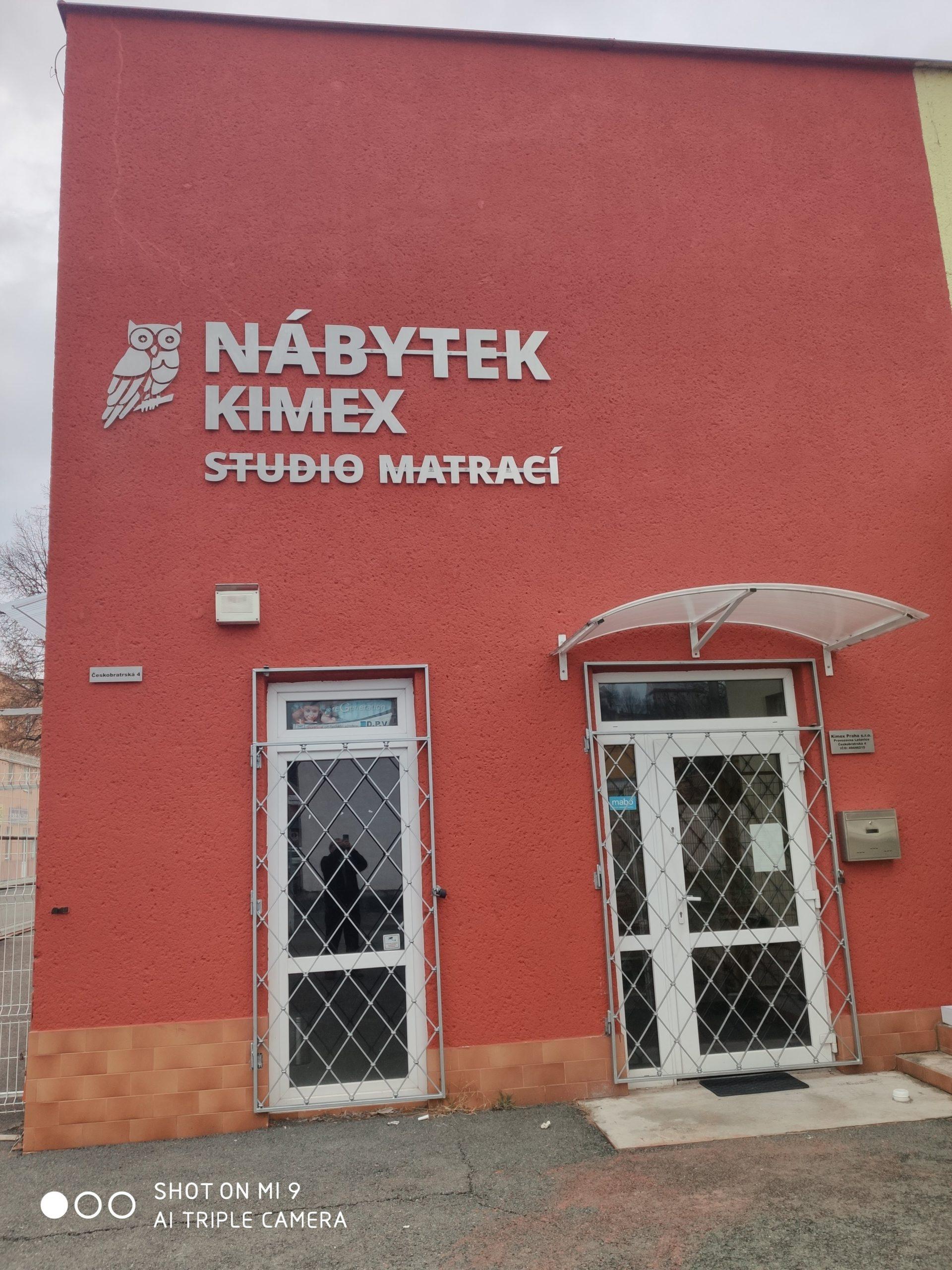 nerezovy napis Nabytek Kimex studio matraci Letovice